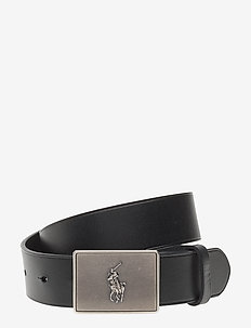 PRL Leather-Trim Cotton Belt - BLACK