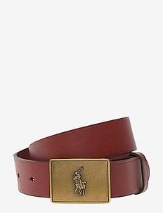 PRL Leather-Trim Cotton Belt - brown