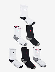 COMBED COTTON-VARSITYSPORT-CRW-6PK - socks - white/ navy assor
