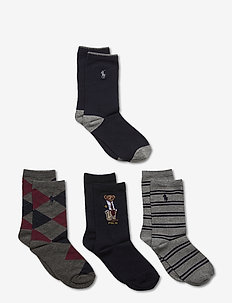 COTN - CRS-PREPPY BEAR4-CRW - socks - navy wine grey