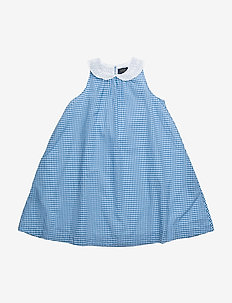 SLS GINGHAM DRES - BLUE/WHITE