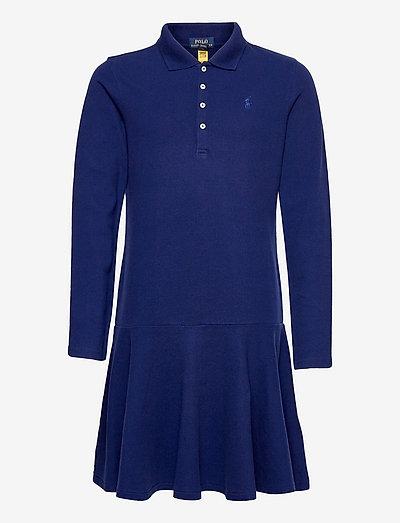 Mesh Long-Sleeve Polo Dress - dresses - fall royal