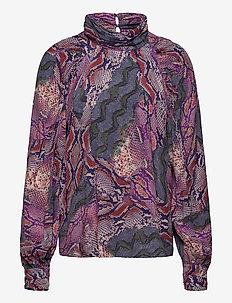 Fleur Top - long sleeved blouses - snakeprint purple