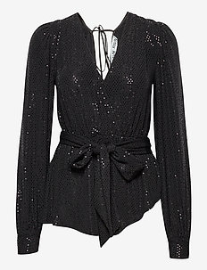 Nona Top - langærmede bluser - black sequin