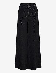 Verona Pants - leveälahkeiset housut - black sequin