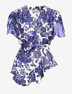 RYLIE TOP - short-sleeved blouses - holiday paisley purple