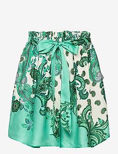 SOFIA SHORT - midi skirts - holiday paisley green