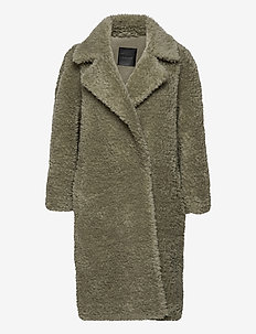 Penny Coat Long - fake fur - green