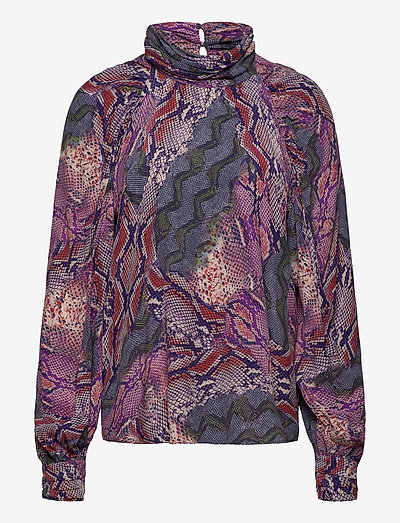 Fleur Top - langermede bluser - snakeprint purple