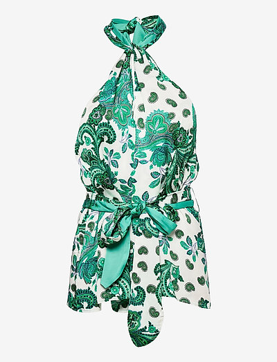 PHOEBE TOP - ermeløse bluser - holiday paisley green