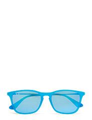 CHRIS JUNIOR - AZURE FLUO TRASPARENT RUBBER-GREEN MIRROR BLUE