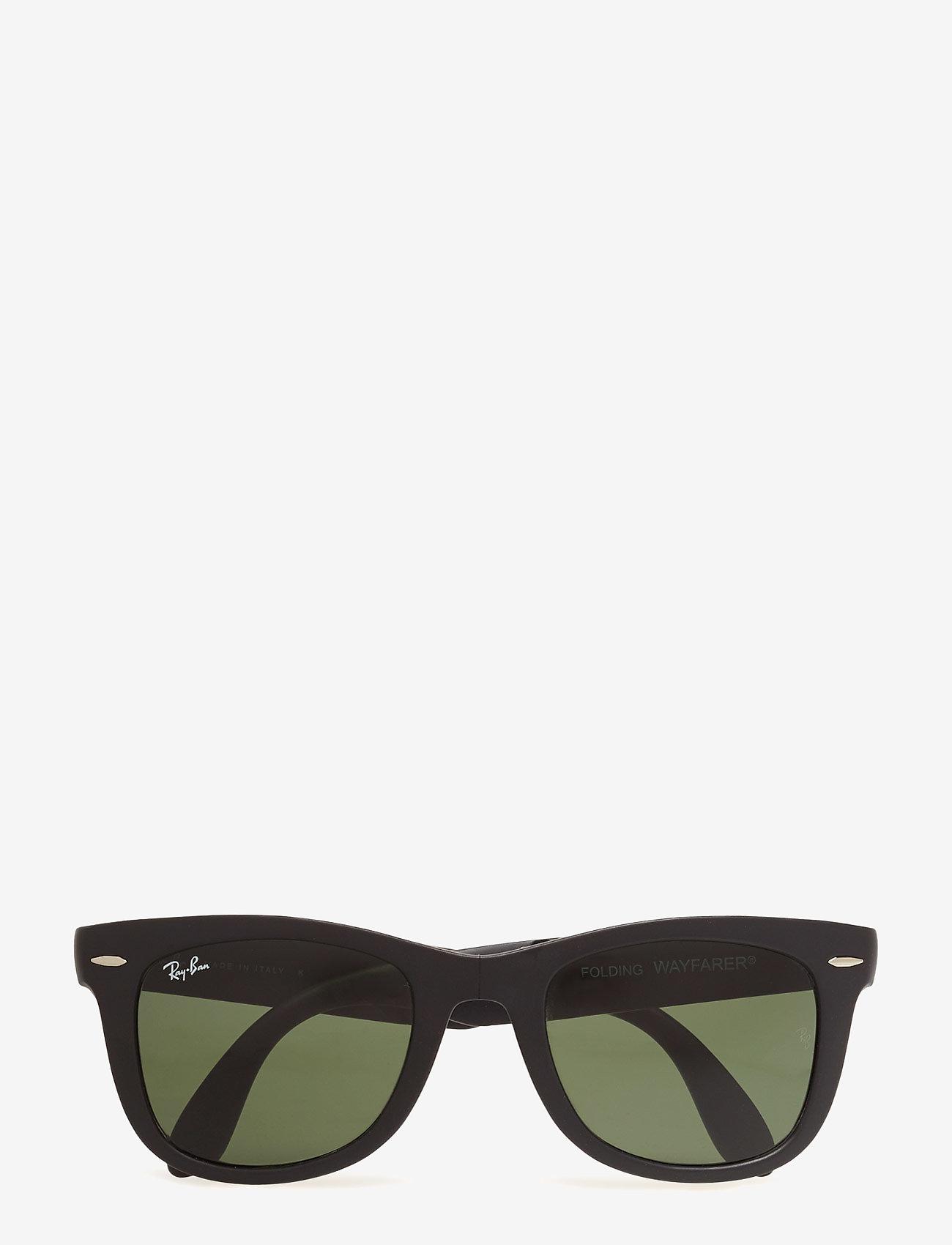 Ray-Ban - FOLDING WAYFARER - d-vormige zonnebril - matte black-crystal green - 0