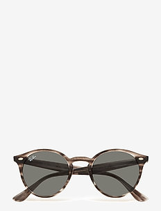 0RB2180 - round frame - stripped grey havana