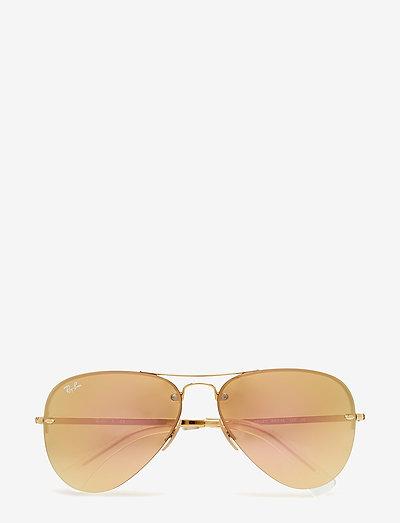 Aviator - aviatora stila - gold-light brown mirror pink