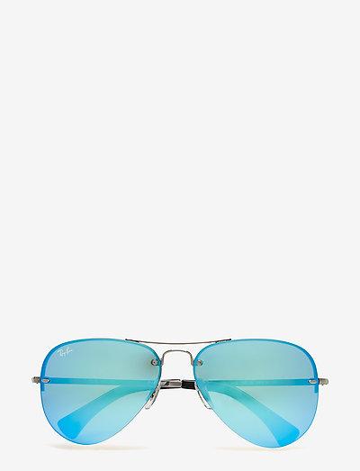 Aviator - pilot - gunmetal-light green mirror blue