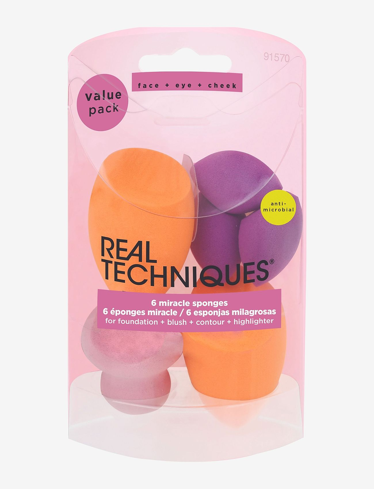 Real Techniques - Real Techniques 6 Miracle Complexion Sponges - svampe - orange - 1