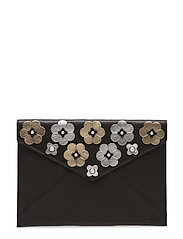 Floral Applique Leo Clutch - 018 MULTI BLACK /  BLACK