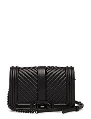 Chevron Quilted Small Love Crossbody - BLACK / BLACK