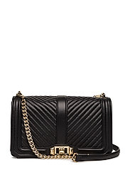 Chevron Quilted Love Crossbody - BLACK / GOLD