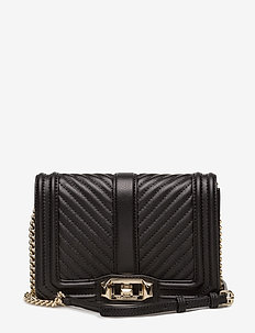 CHEVRON QUILTED SMALL LOVE CROSSBODY - BLACK / LIGHT GOLD