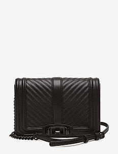 Chevron Quilted Small Love Crossbody - shoulder bags - black/black