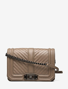 CHEVRON QUILTED SMALL LOVE CROSSBODY - SANDRIFT
