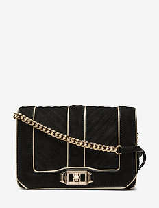CHEVRON QUILTED SMALL LOVE CROSSBODY - BLACK