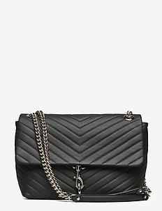 Edie Flap Shoulder Bag Pebble - BLACK-NICKEL