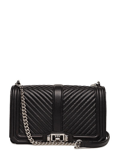 Chevron Quilted Love Crossbody - BLACK / SILVER