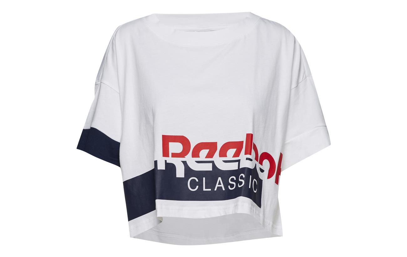 Classics Cropped White conavy Tee Reebok 100 Ac Coton dwafPEx