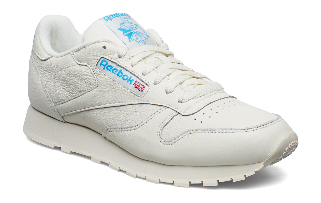 Reebok Classics CL LEATHER MU - CHALK/PAPERWHITE/CYAN