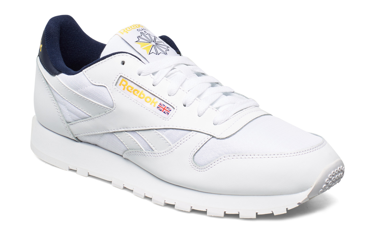 Reebok Classics CL LEATHER MU - WHITE/COLL NAVY/YELLO