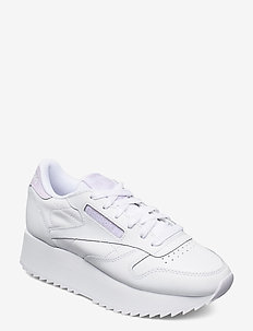 CL LTHR DOUBLE - sneakers med lav ankel - white/lumlil/white