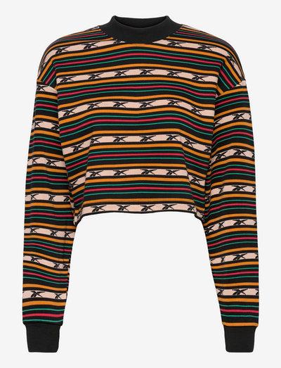 CL CAMP STRIPE CREW - sweatshirts - black