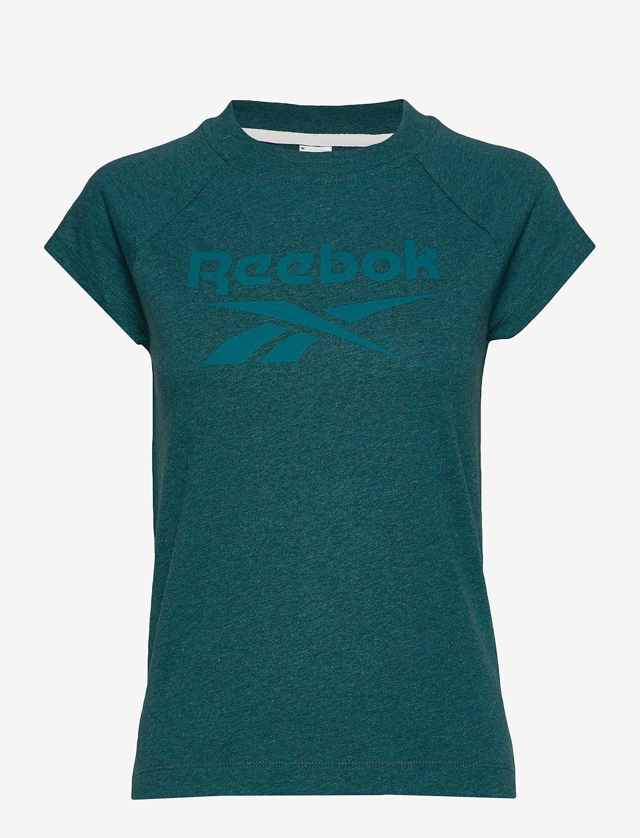 Damen T Shirt Reebok Texture Logo Blue |