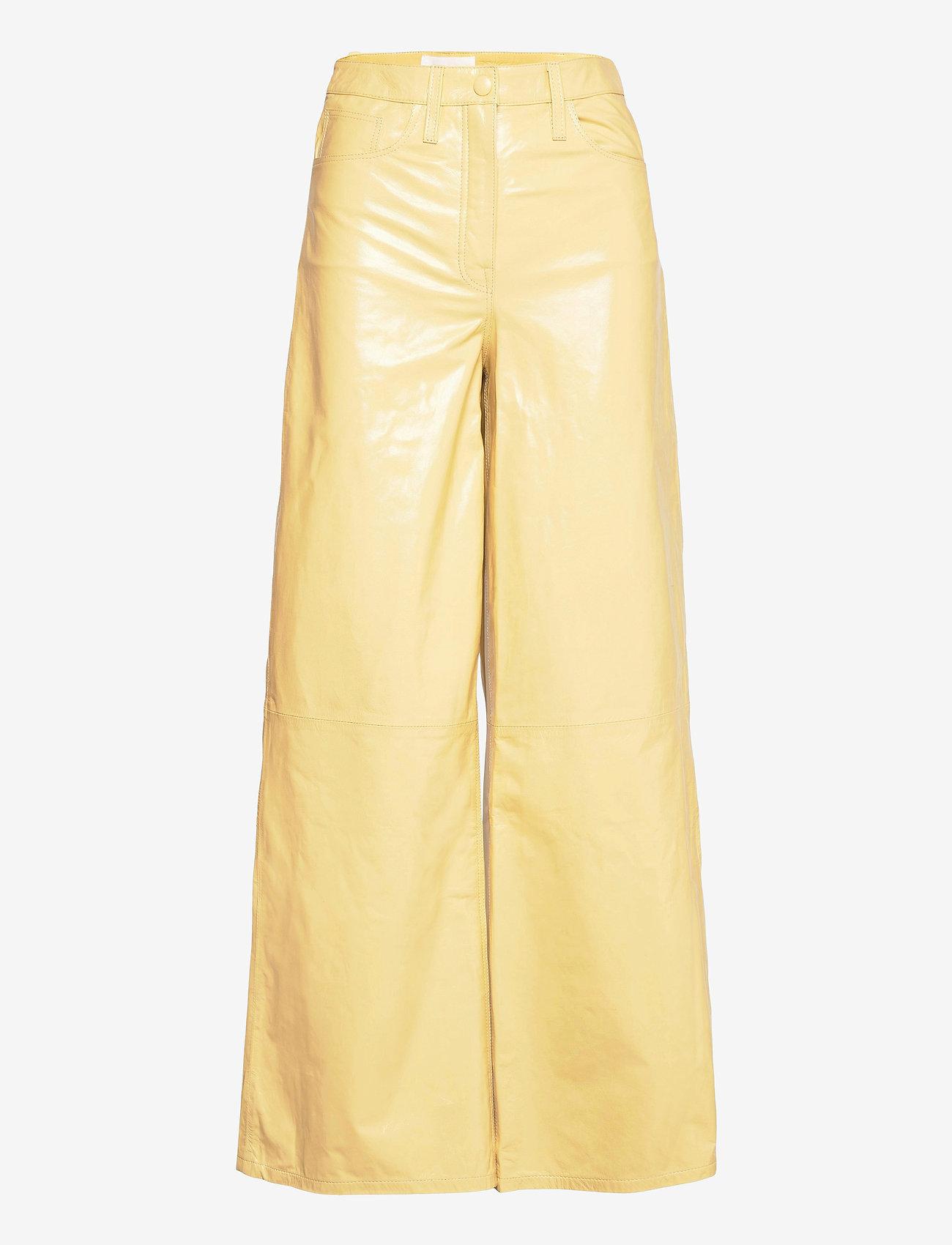 REMAIN Birger Christensen - Ariane Trousers - bukser med brede ben - straw - 1