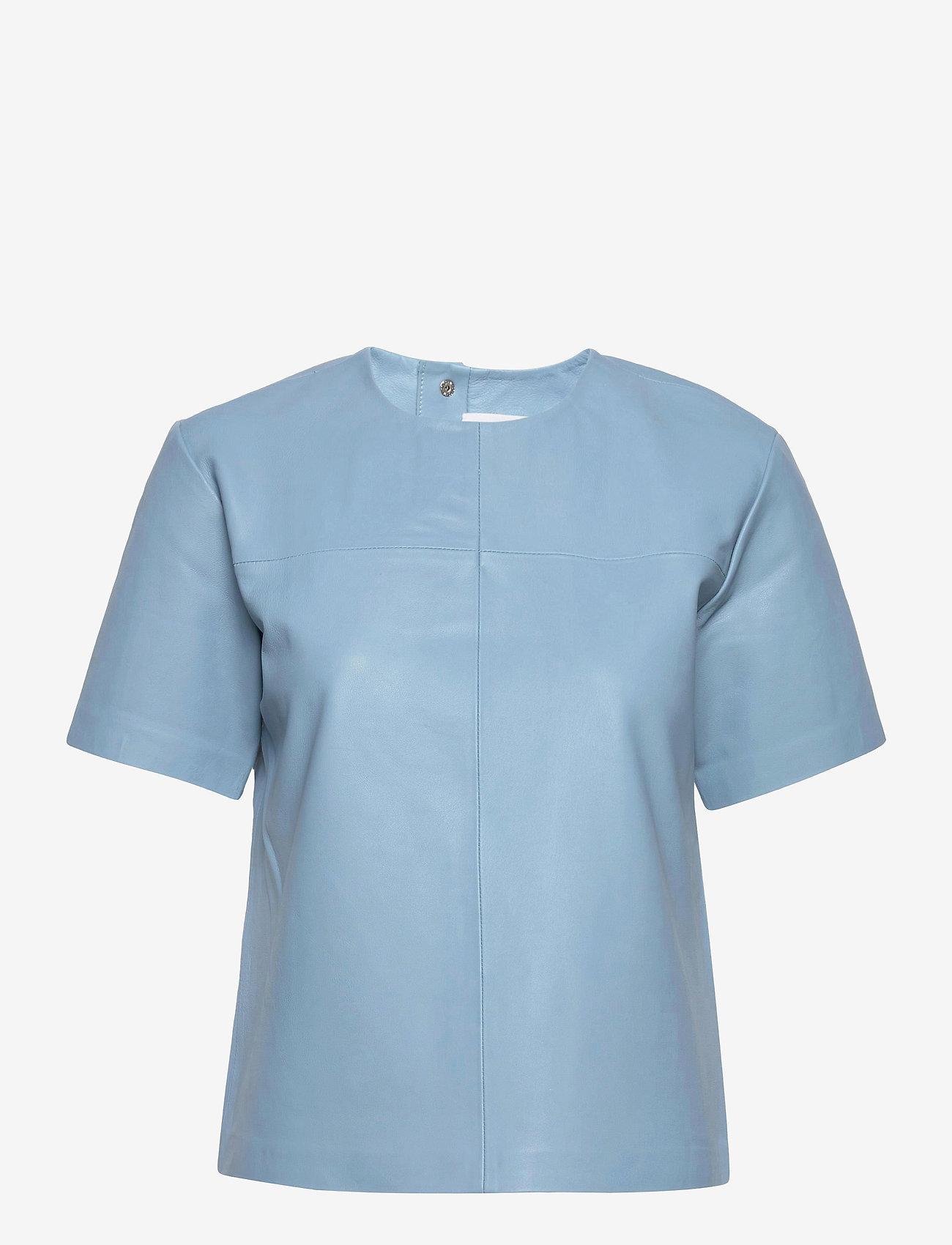 REMAIN Birger Christensen - Audrey Shirt - kortærmede bluser - ashley blue - 0