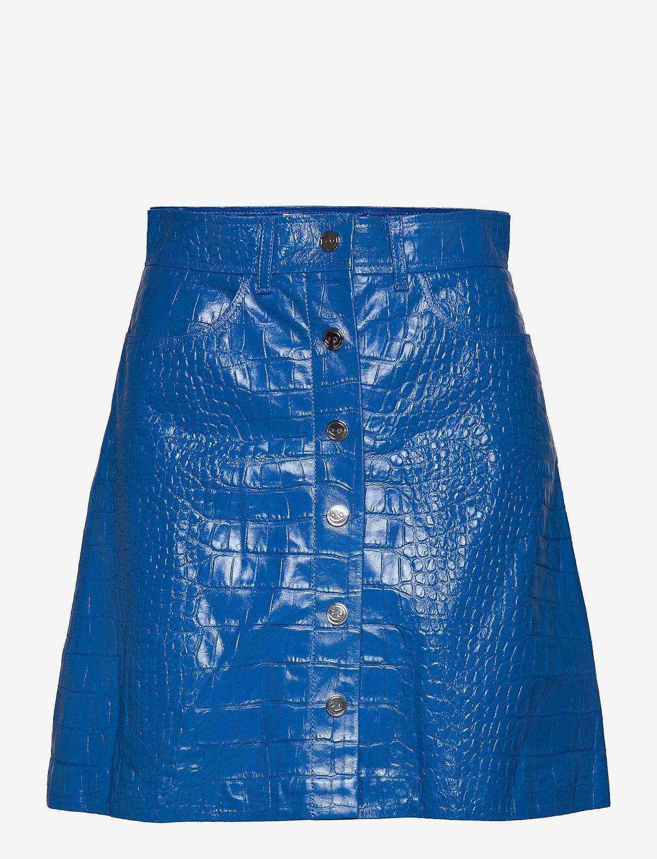 REMAIN Birger Christensen - Carmela Short Skirt Leather - korte nederdele - palace blue - 0