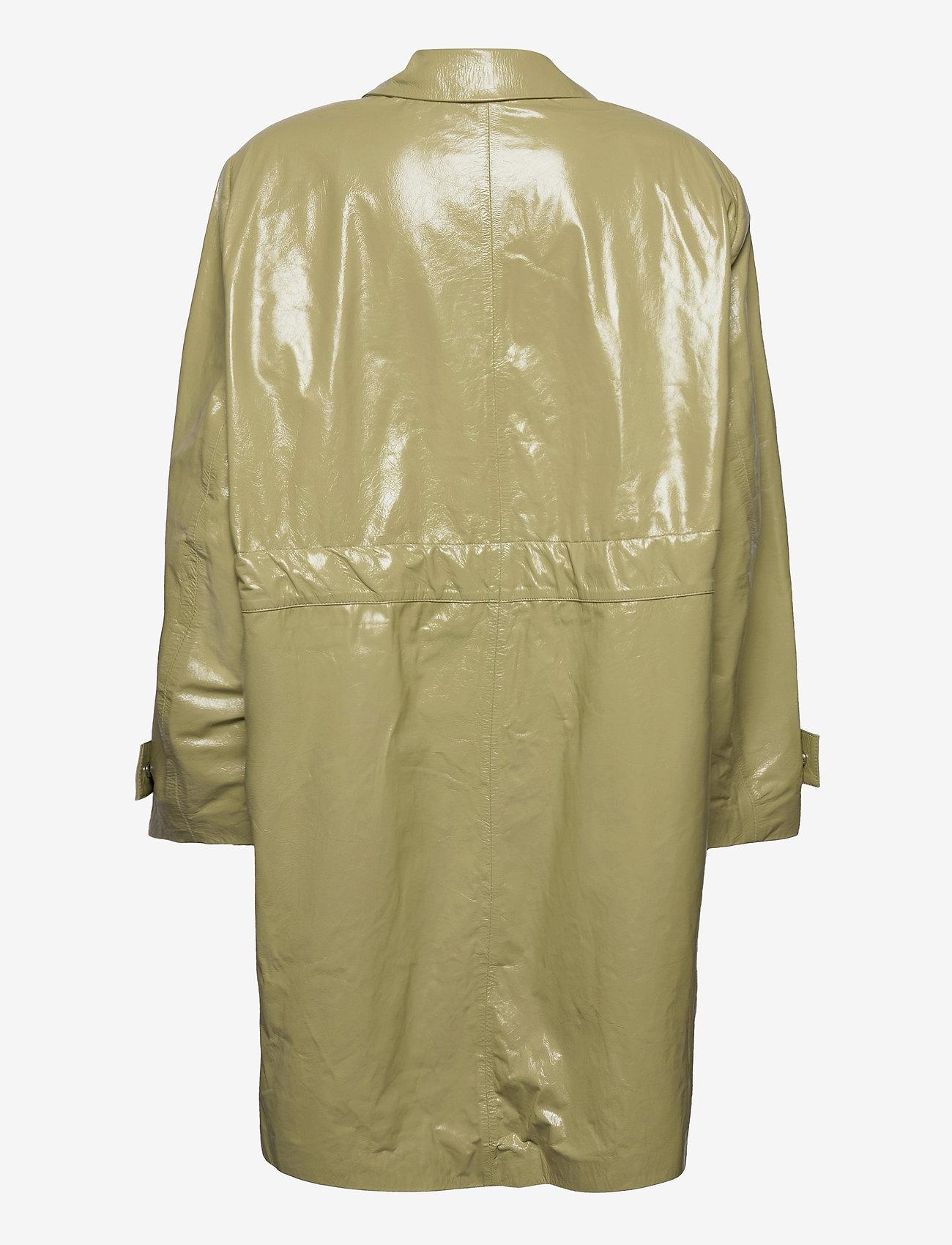 REMAIN Birger Christensen - Maika Coat Leather - lette frakker - gray green - 2