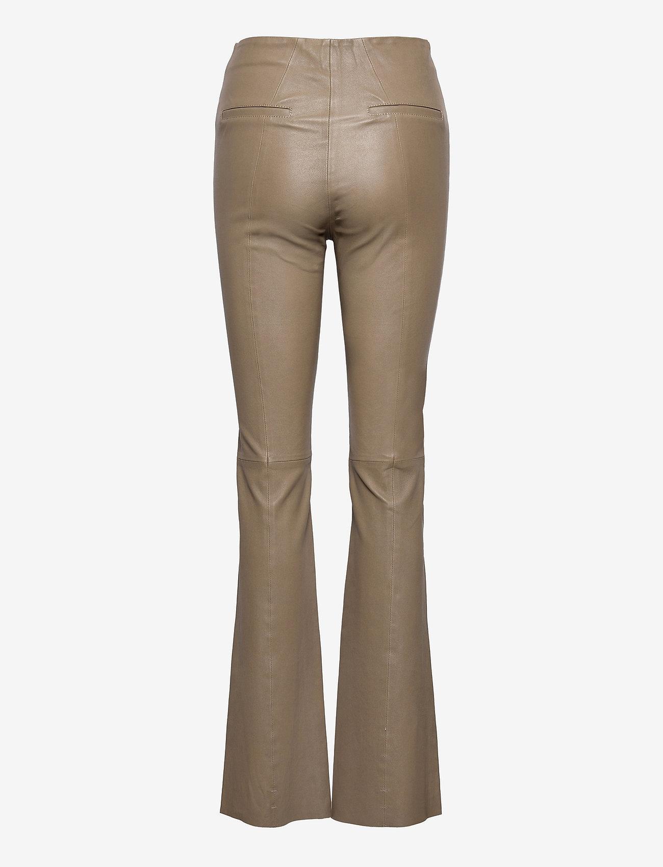 REMAIN Birger Christensen - Floral Pant Leather - læderbukser - simply taupe - 1