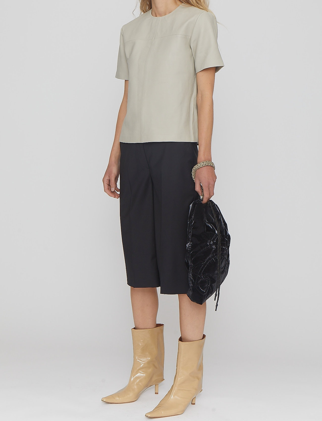 REMAIN Birger Christensen - Maisy Shorts - læder shorts - black - 3