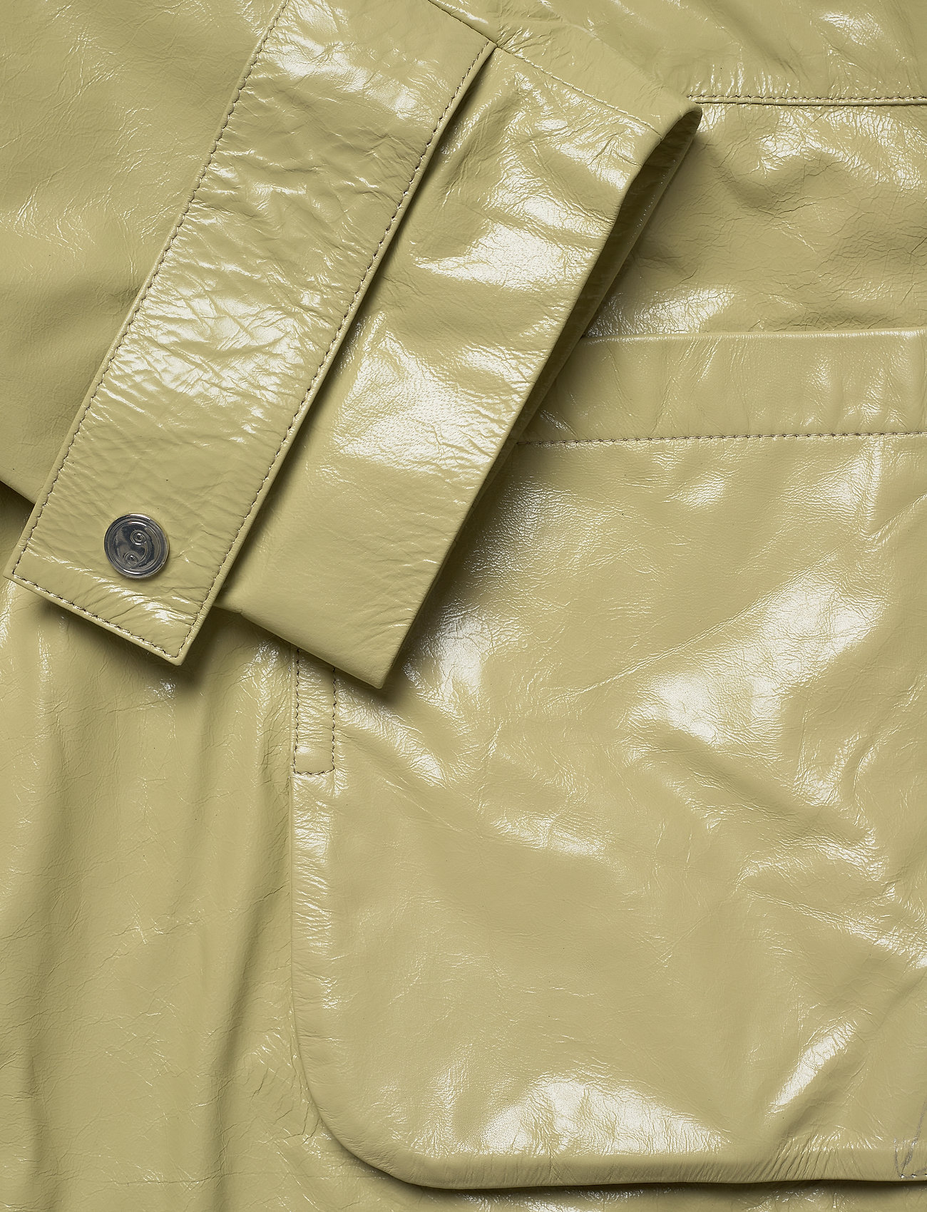 REMAIN Birger Christensen - Maika Coat Leather - lette frakker - gray green - 1