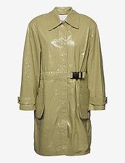 REMAIN Birger Christensen - Maika Coat Leather - lette frakker - gray green - 0