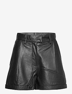 Paola Shorts - læder shorts - black