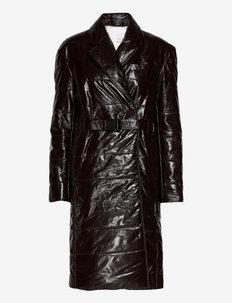 Gia Coat Leather - trench coats - ganache