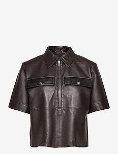 Tamia Polo Shirt Contrast Leather - chemises en jeans - ganache