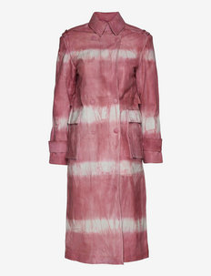 Pirene Coat Leather- Tie Dye Leather - trench coats - bubblegum
