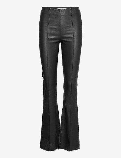 Floral Pant - spodnie skórzane - black