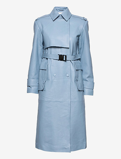 Pirella Trench Leather - trenchcoats - ashley blue