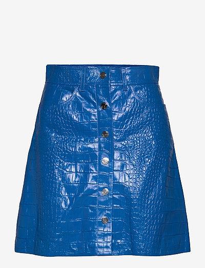 Carmela Short Skirt Leather - korte nederdele - palace blue